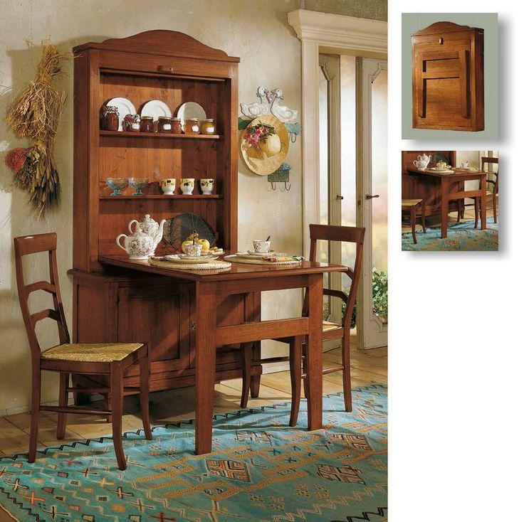 Italienischer Küchenschrank mit zusammenklappbarem Tisch