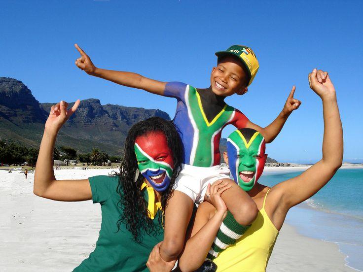 love this picture of South African kids sport the South African flag for the World Cup