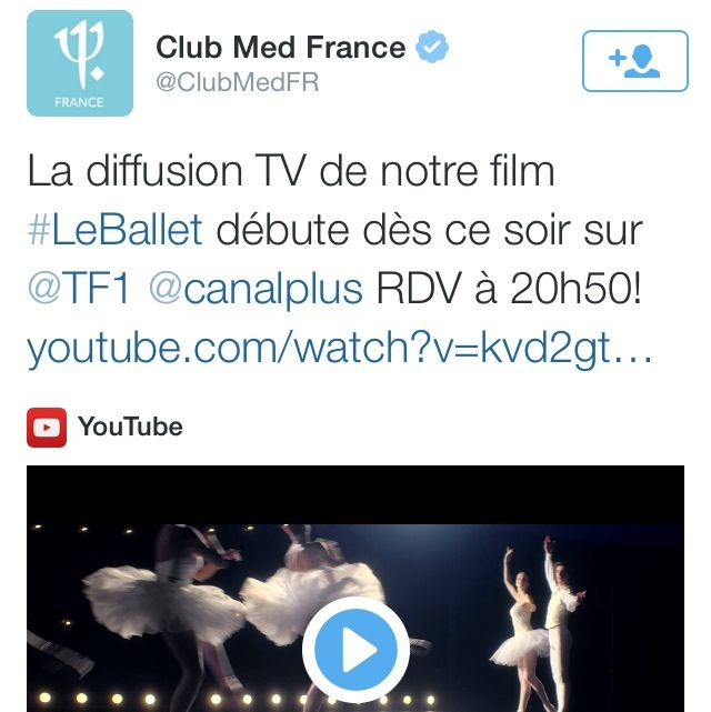#LeBallet est le tweet sponsorisé de ce dimanche. Le #ClubMed fait la pub de sa pub télé/ciné.  Je ne perçois pas la valeur ajoutée. #smo #CM