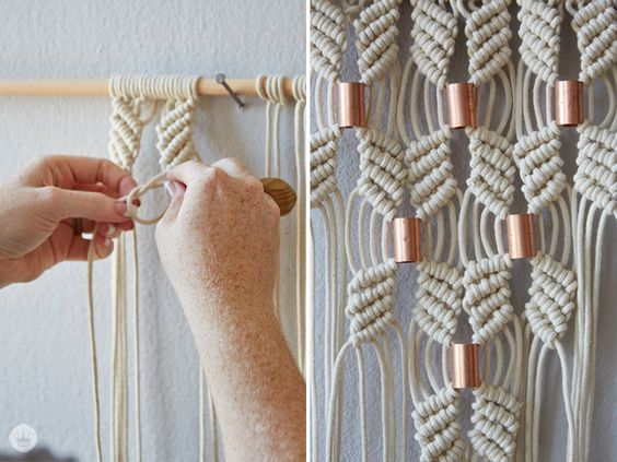 Add a touch of the boho trend without cluttering your crisp, clean space with neutral-colored DIY macrame projects.