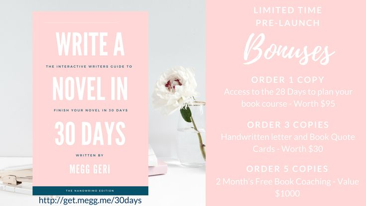 Write a novel in 30 days is completely doable, especially with a step-by-step guide. These bonuses are also pretty awesome.