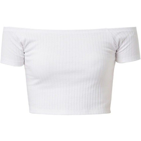 White Ribbed Bardot Neck Crop Top (€1,69) ❤ liked on Polyvore featuring tops, crop tops, shirts, t-shirts, white off the shoulder top, off the shoulder crop top, short sleeve off the shoulder top and white crop tops