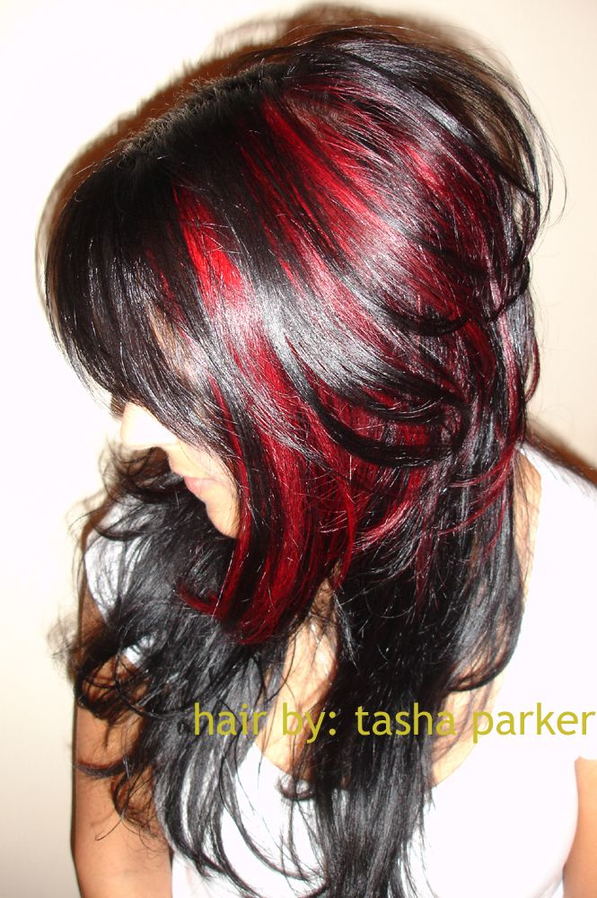 Red: Shorts Layered, Colors Combos, Hair Colors, Dark Hair, Red Hair, Black Hair, Hair Style, Peek A Boo, Red Highlights