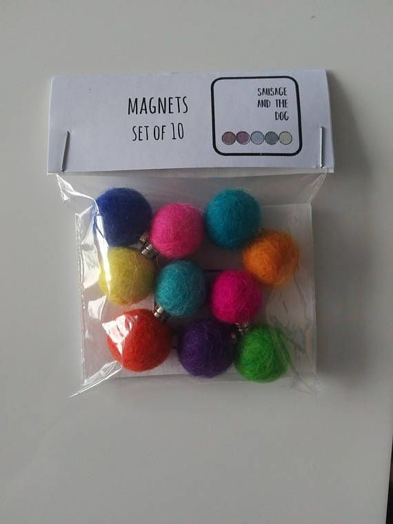 Magnets, Kitchen Magnets Set, Kitchen Gift, Set of 10  Felt Ball Magnets - Fridge Magnets - Noteboard - Quirky Gift