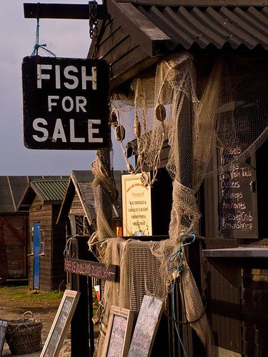Fish stall at Southwold Harbour, Suffolk