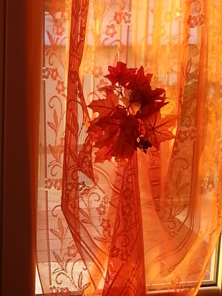 FIERY COLOR CURTAINS FOR DRESSING WINDOWS KITCHEN IN AUTUMN