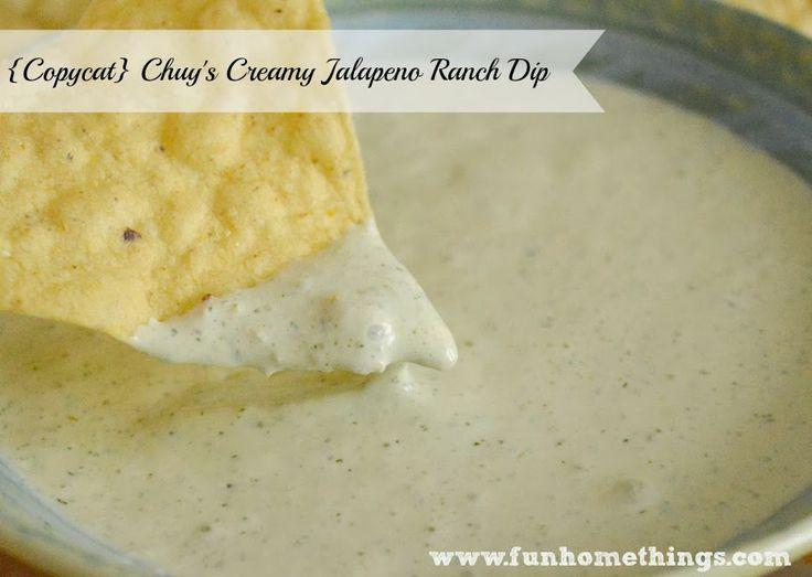 Fun Home Things: {Copycat} Chuy's Creamy Jalapeno Ranch Dip