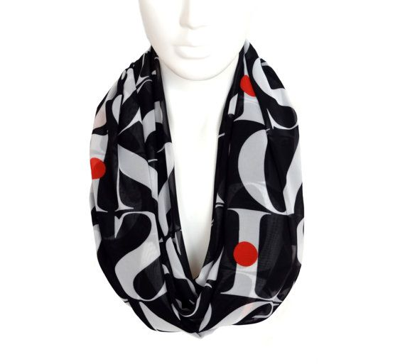 letters black scarf, silk infinity scarf, long summer scarf, chiffon scarf, infinity scarf, print infinity scarf, loop scarf, boho infinity