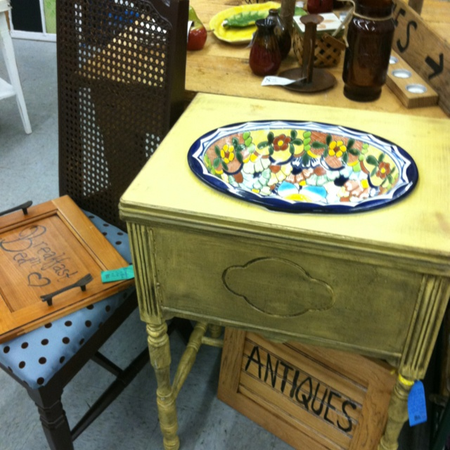 Bathroom Vanity Made From An Old Sewing Machine Cabinet