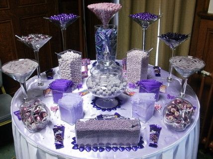 Purple And Silver Wedding table | Purple sweet tables candy buffets