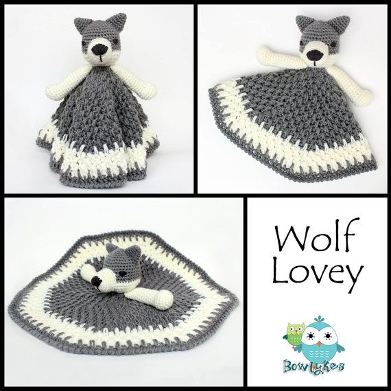 Wolf Lovey CROCHET PATTERN instant download blankey by Bowtykes