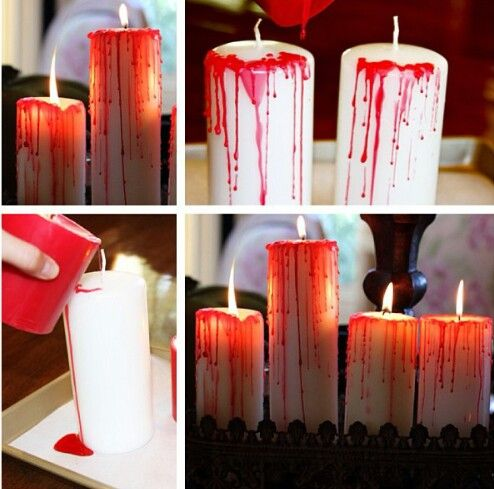 melted red candle wax dripped onto white candle rim.