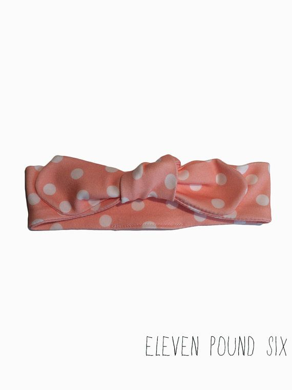 Organic cotton pink and white polka dot bow knot topknot headband