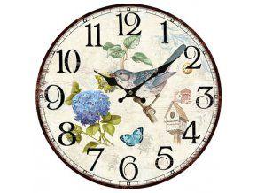 Nástěnné hodiny - modrý ptáček, 34 cm