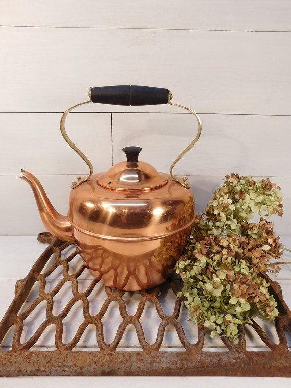 40% Off Sale - Vintage Portugal Copper Tea Kettle, Copper Tea Pot, Farmhouse Chic, Copper Cookware