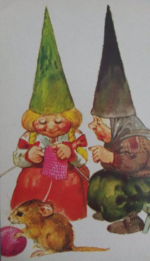 Vintage Gnome Postcard / David the Gnome / Rien by RVHills on Etsy