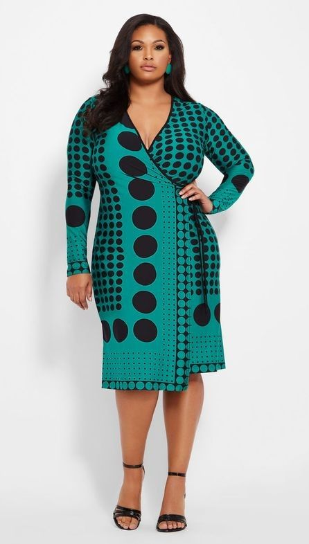 f84ed23fb19 Green and Black Plus Size Long Sleeve Cocktail Dresses - This long sleeve  style green and black polka dot cocktail dress would also look amazing for  a ...