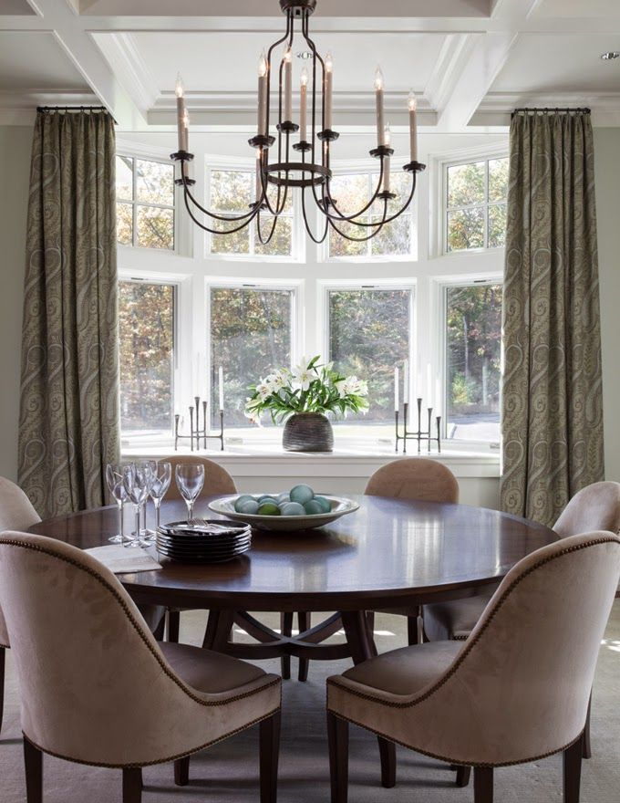 Diniing Room With Round Table Interiors Find This Pin And More On Window Treatments