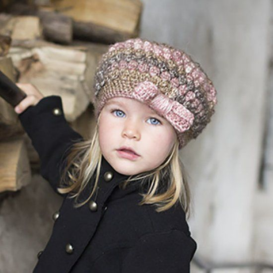 Girls Puff Stitch Hat with Bow--free pattern