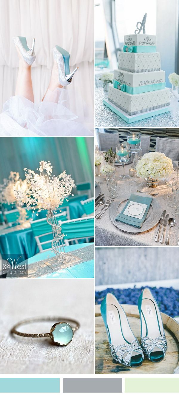 2017 silver and aqua spring summer wedding color ideas