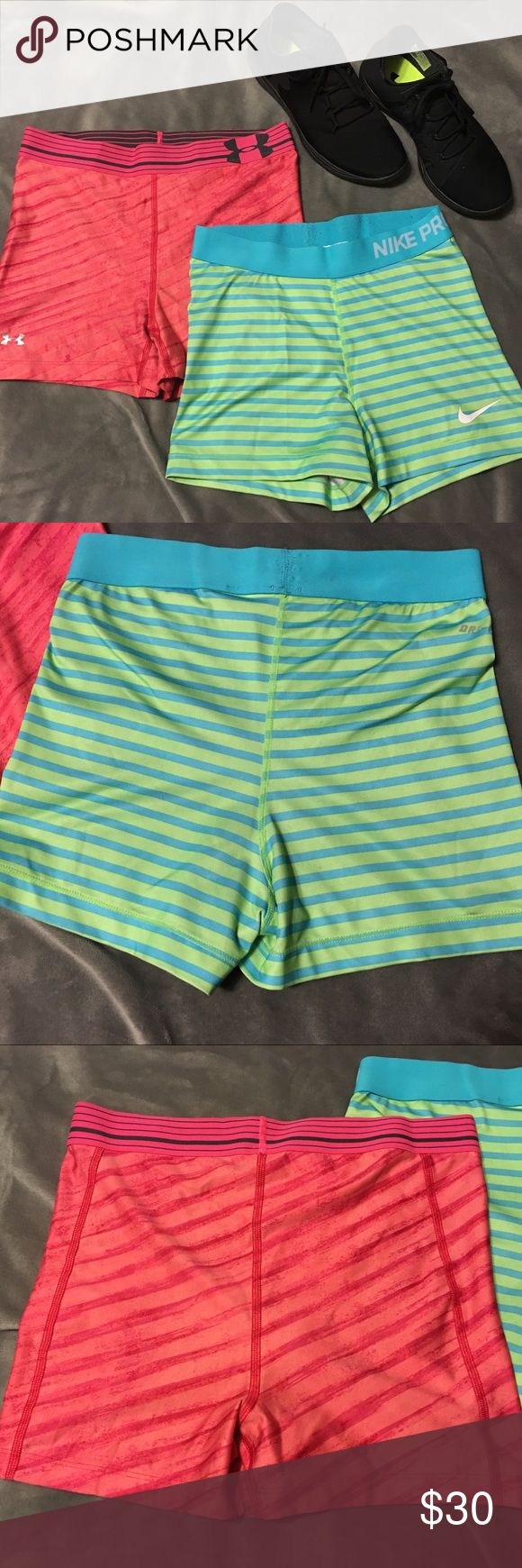 2 dri fit volleyball gym shorts 1 Nike dri fit and 1 Under Armour...gently used. Great condition!!! Comes from smoke free, pet free home. Shipping dates are Tuesday through Friday Nike Shorts