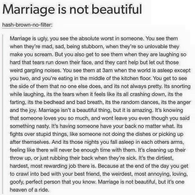 I love this! I don't think anyone could explain marriage better than this!