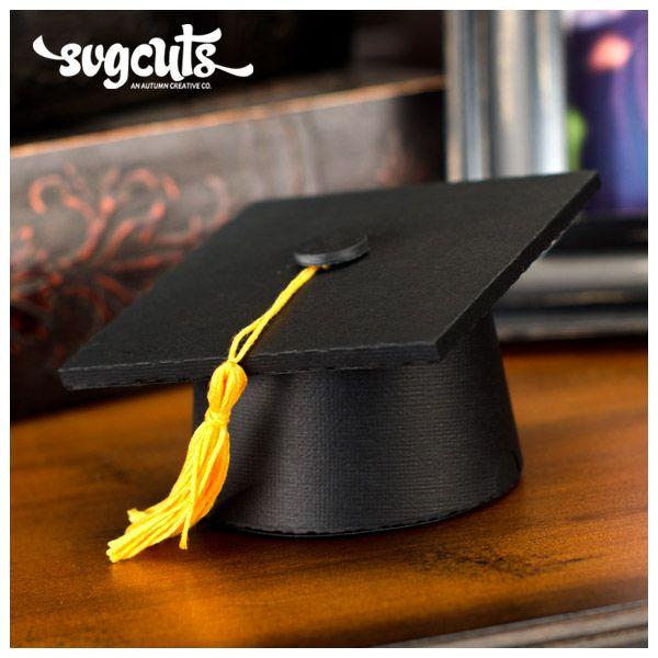 Graduation Day SVG Kit - paper DIY graduation cap box from SVGCuts #school #graduation
