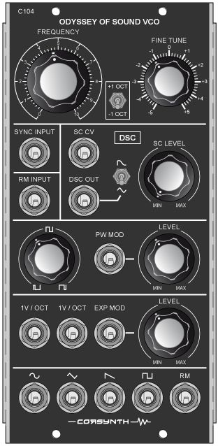 The C104 Odyssey of Sound VCO is a voltage controlled oscillator in MU format , based in the discrete core of the ARP VCOs ( 2600, Odyssey… ).
