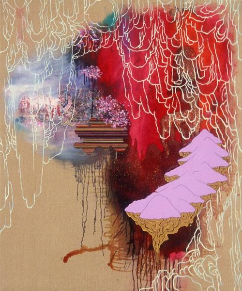 "Jackie Tileston ""Trade Routes"" mixe media on linen 72"" x 60"" @ Zg Gallery, Chicago"