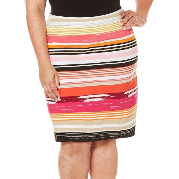 Rafaella Plus Plus Striped Supreme Stretch Pencil Skirt ($46) ❤ liked on Polyvore featuring plus size women's fashion, plus size clothing, plus size skirts, bright coral, pencil skirts, colorful pencil skirt, slit pencil skirt, slit skirt and knee length pencil skirt