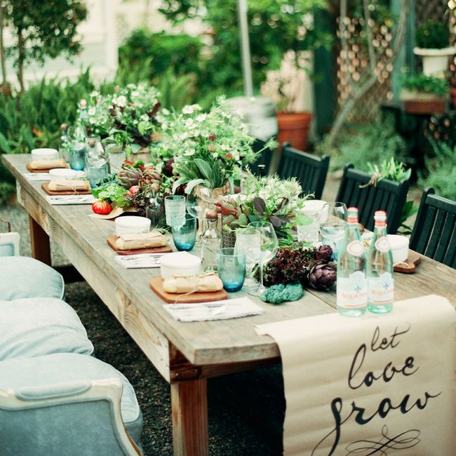 20 Farmer's Market Wedding Details: Wooden Tables | SouthBound Bride | http://www.southboundbride.com/farmers-market-wedding-details | Image credit: Clayton Austin/Panacea Event Floral Design via Style Me Pretty