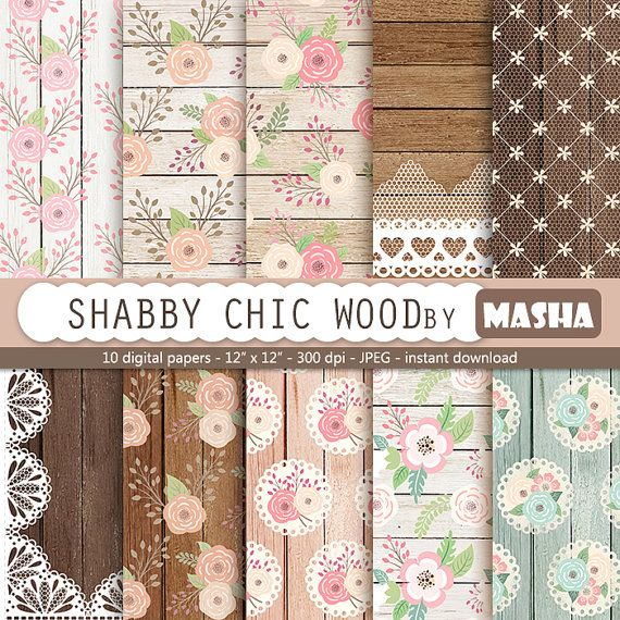 Roses and wood digital papers: SHABBY CHIC WOOD by MashaStudio