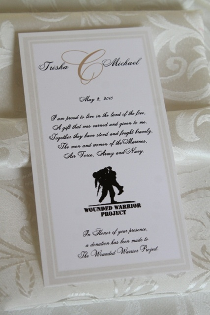 A donation was made to the wounded warrior project in lieu of traditional wedding favors