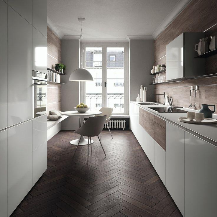 E se sulla parete verso vano scale tu lasciassi cucina con gas e acqua e sull'altro lato, invece che penisola, mettessi sempre due mobili cucina alti (frigo, forno e microonde) con la panca e tavolino?!