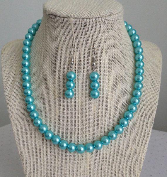 Light Blue Pearl Necklace Set Aqua Blue by CherishedJewelryCo