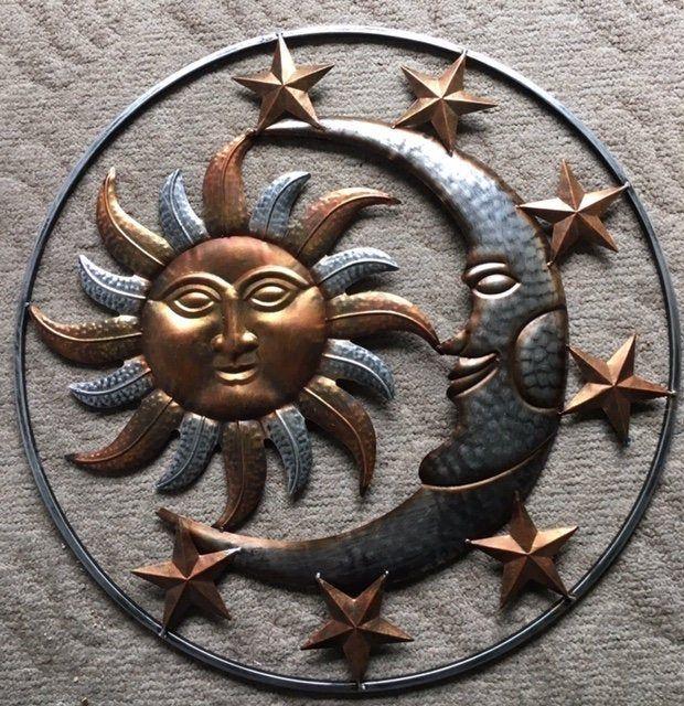 Large Sun And Moon With Stars Metal Hanging Garden Decor Etsy Moon Decor Sun Wall Decor Stars Wall Decor