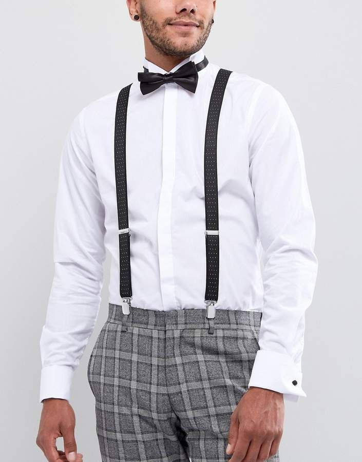 Checkered Bow Ties and Solid Color Suspenders Man of Men Bowtie /& Suspender Set