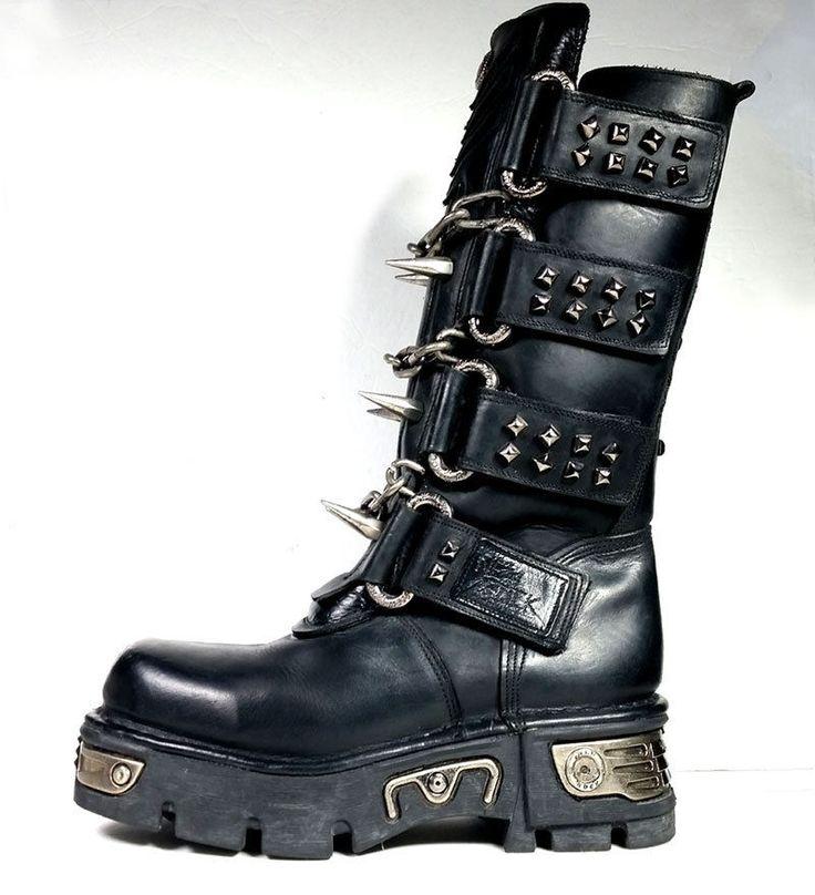 New Rock Hombres Cuero Motorista Largo Zapatos - M.272 (EU 38, Negro)
