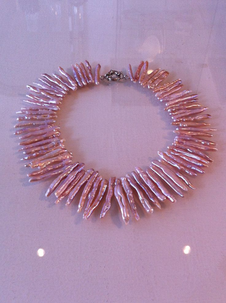 Pink pearl statement necklace, by BAHIQUE Amsterdam.