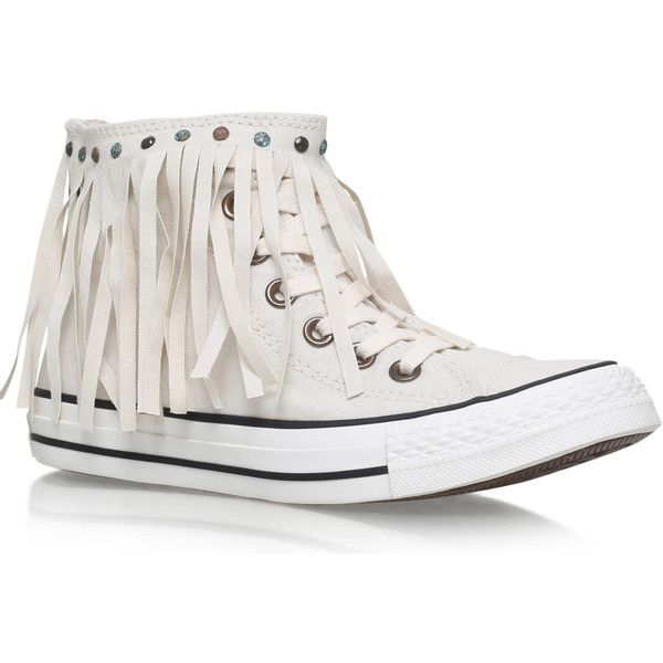 Converse Ivory Washed Denim Fringe Detail Chuck Taylor Trainers ($88) ❤ liked on Polyvore featuring shoes, sneakers, high top trainers, fringe shoes, converse shoes, fringe sneakers and high top sneakers