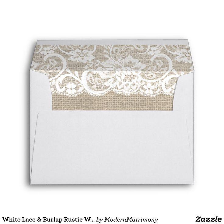 White Lace & Burlap Rustic Wedding Invite Envelope