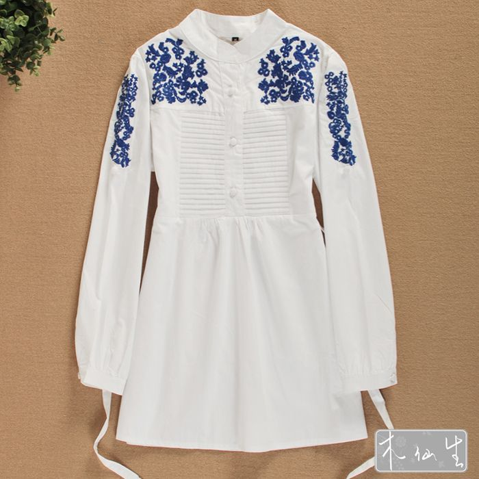 fashion women 2014 clothes national embroidery elegant long sleeve blouse XL autumn summer white shirt female brief dress