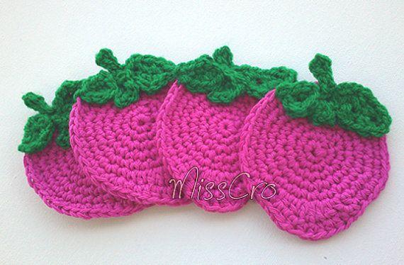 SALE 35% OFF  Crochet pattern  Strawberry crochet coasters