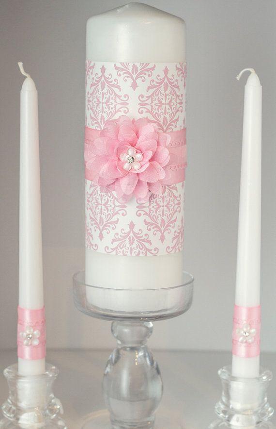 Pink and White Damask Wedding Unity Candle Set with Rhinestone Embellishments. $39.00, via Etsy.