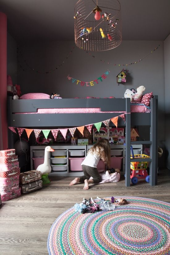 Cutest kids room! Cute ideas for Girl's Room  (or boy's room!) #girlsroomideas #pink #candy #dark #sophisticated #rug #bunting  #birdcage #chandelier #colorfulcarpet #bunkbeds #loftbed #mothergoose #Violette #Toystorage #namebanner