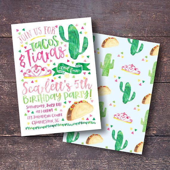 Thank you for checking out Bloomberry Designs! With the purchase of this listing you will receive the Tacos & Tiaras Birthday Party Invitation emailed to you as a JPEG file. The file can be printed through any print center in your town or online print shop. If you would like to