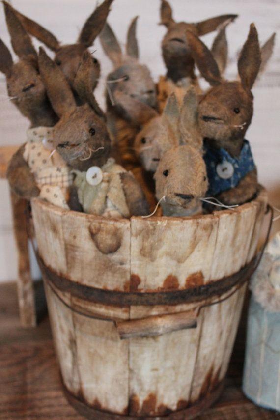 Bucket of priitive rabbits by aFineFarmhouse on Etsy