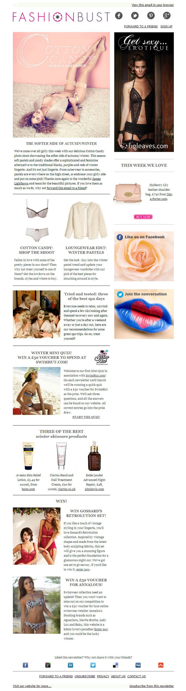 Be inspired by our Candy Candy photo shoot showcasing the pretty pastels for AW13, and curl up in some luscious loungewear. We're also pampering you with three of the best spa breaks and winter skincare must haves. Plus lots of lovely competitions!