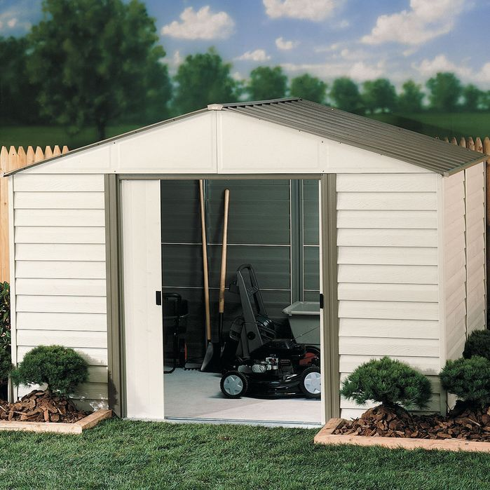 milford 10 ft w x 8 ft d vinyl coated steel storage shed