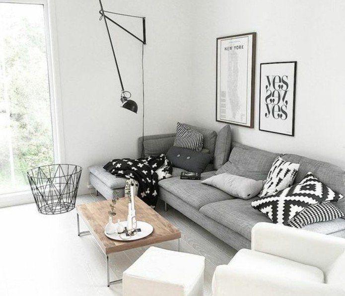 suggestion salon gris et blanc, couleur peinture salon blanc, fauteuil blanc et canapé gris, coussins en blanc, gris et noire, table en bois très sympa